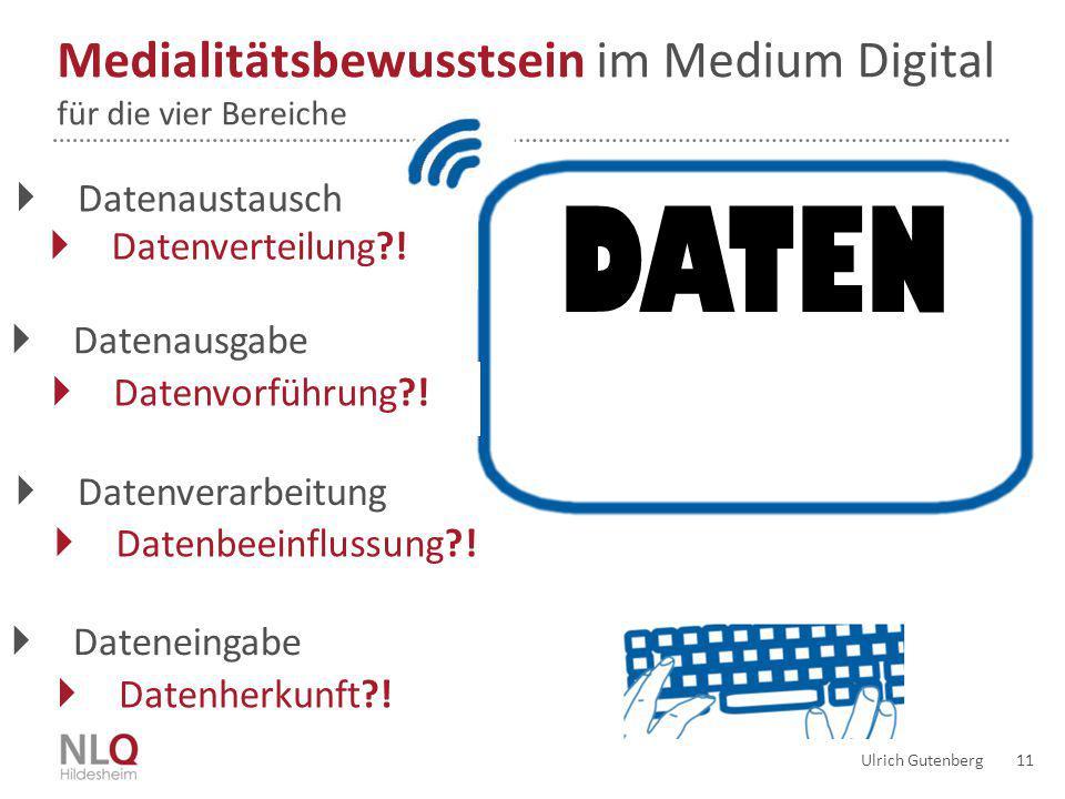 Ulrich Gutenberg 11 DATEN Medialitätsbewusstsein im Medium Digital für die vier Bereiche  Datenausgabe  Datenvorführung?!  Dateneingabe  Datenvera