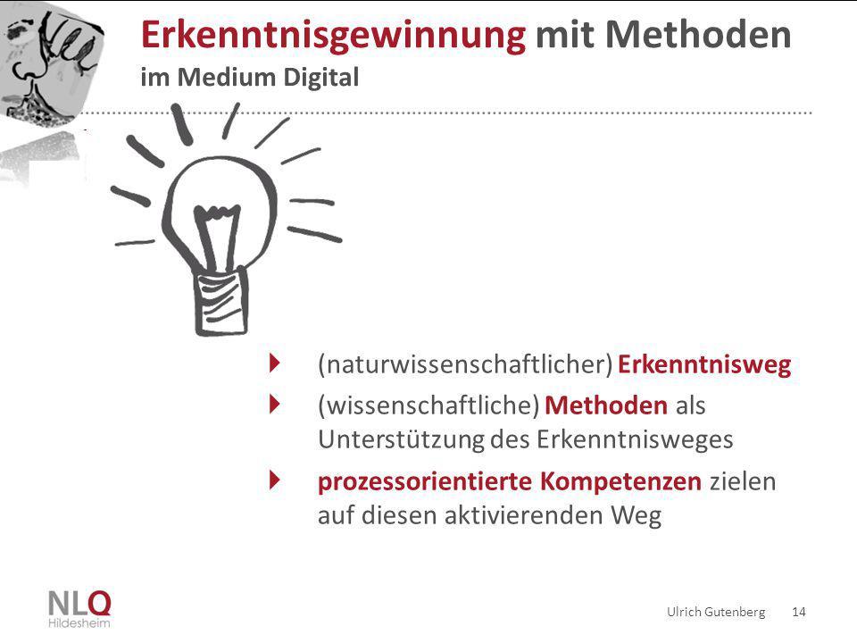 Ulrich Gutenberg 14 Erkenntnisgewinnung mit Methoden im Medium Digital  (naturwissenschaftlicher) Erkenntnisweg  (wissenschaftliche) Methoden als Un