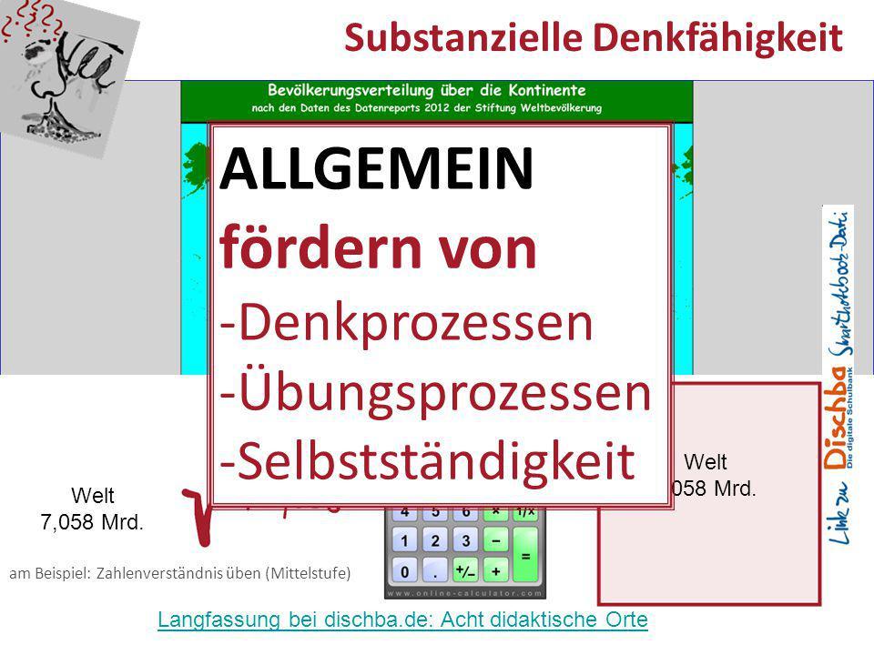 17 Substanzielle Denkfähigkeit Welt 7,058 Mrd. am Beispiel: Zahlenverständnis üben (Mittelstufe) Welt 7,058 Mrd. ALLGEMEIN fördern von -Denkprozessen
