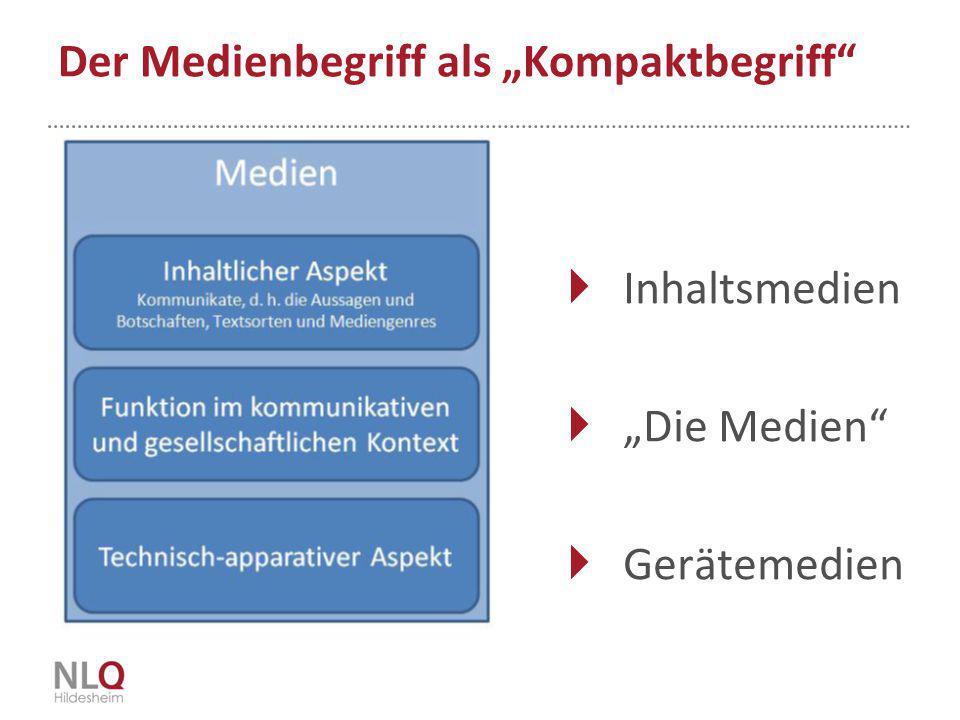 """Der Medienbegriff als """"Kompaktbegriff""""  Inhaltsmedien  """"Die Medien""""  Gerätemedien"""