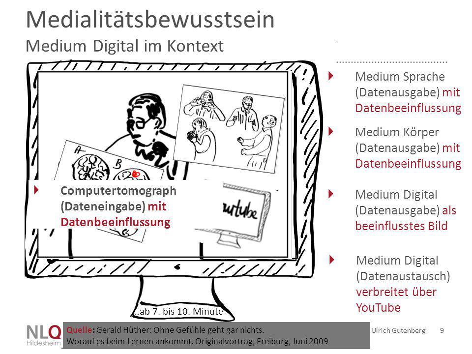 Medialitätsbewusstsein Medium Digital im Kontext Ulrich Gutenberg 9 Quelle: Gerald Hüther: Ohne Gefühle geht gar nichts. Worauf es beim Lernen ankommt