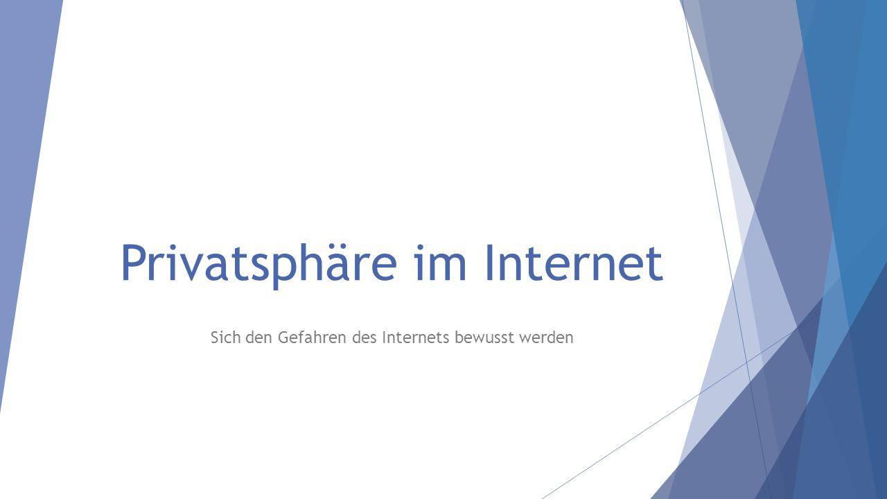 Privatsphäre im Internet Sich den Gefahren des Internets bewusst werden