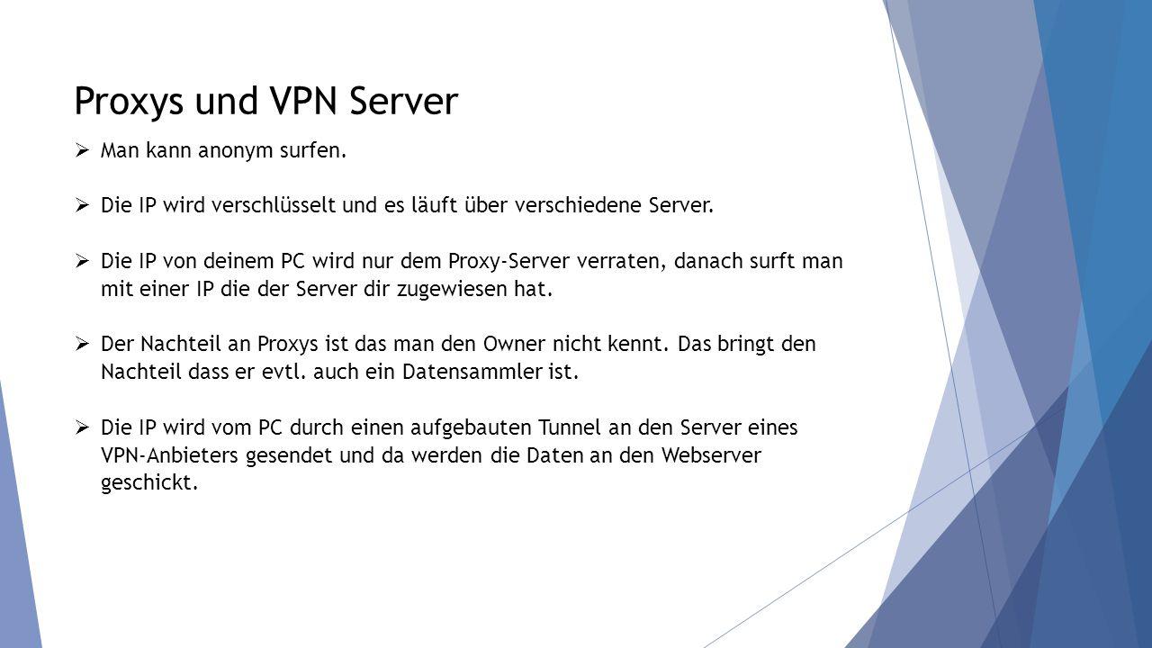 Proxys und VPN Server  Man kann anonym surfen.  Die IP wird verschlüsselt und es läuft über verschiedene Server.  Die IP von deinem PC wird nur dem