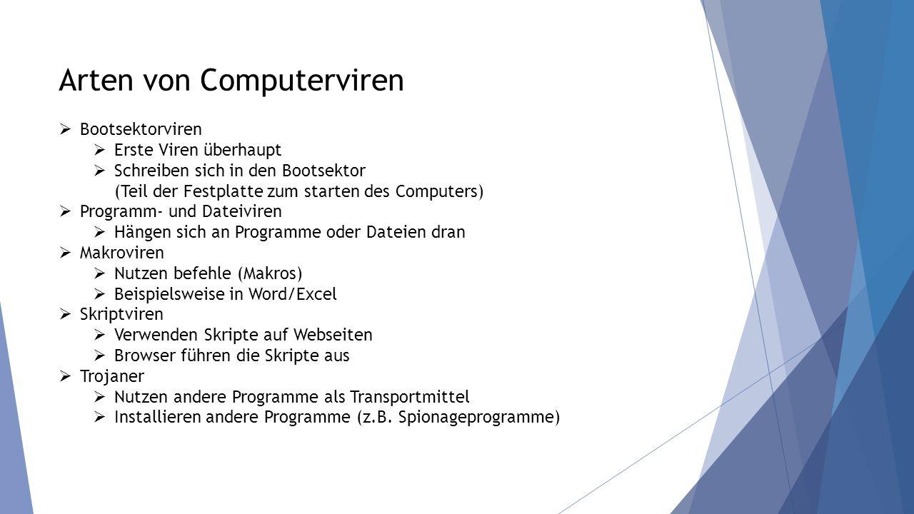 Arten von Computerviren  Bootsektorviren  Erste Viren überhaupt  Schreiben sich in den Bootsektor (Teil der Festplatte zum starten des Computers) 