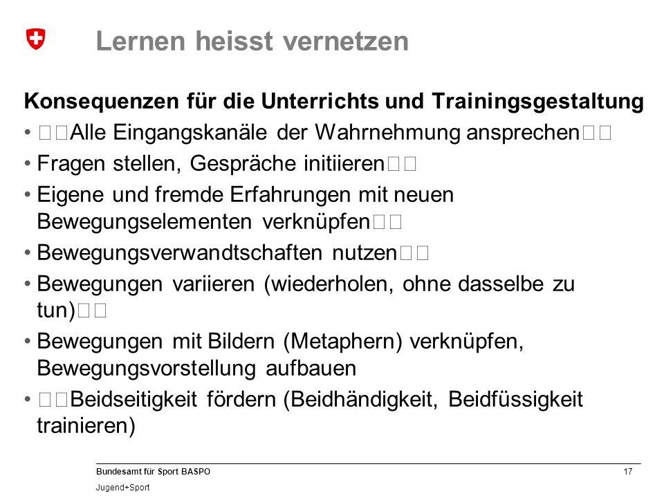17 Bundesamt für Sport BASPO Jugend+Sport Lernen heisst vernetzen Konsequenzen für die Unterrichts und Trainingsgestaltung Alle Eingangskanäle der