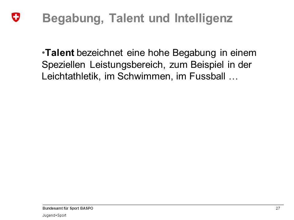 27 Bundesamt für Sport BASPO Jugend+Sport Begabung, Talent und Intelligenz Talent bezeichnet eine hohe Begabung in einem Speziellen Leistungsbereich,