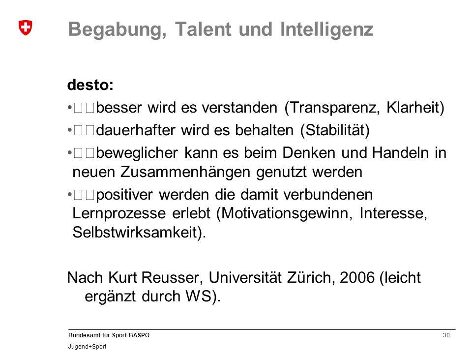 30 Bundesamt für Sport BASPO Jugend+Sport Begabung, Talent und Intelligenz desto: besser wird es verstanden (Transparenz, Klarheit) dauerhafter wi
