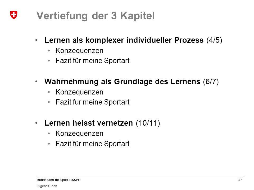 37 Bundesamt für Sport BASPO Jugend+Sport Lernen als komplexer individueller Prozess (4/5) Konzequenzen Fazit für meine Sportart Wahrnehmung als Grund