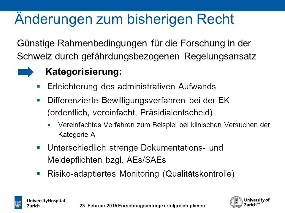 23. Februar 2015 Forschungsanträge erfolgreich planen Günstige Rahmenbedingungen für die Forschung in der Schweiz durch gefährdungsbezogenen Regelungs