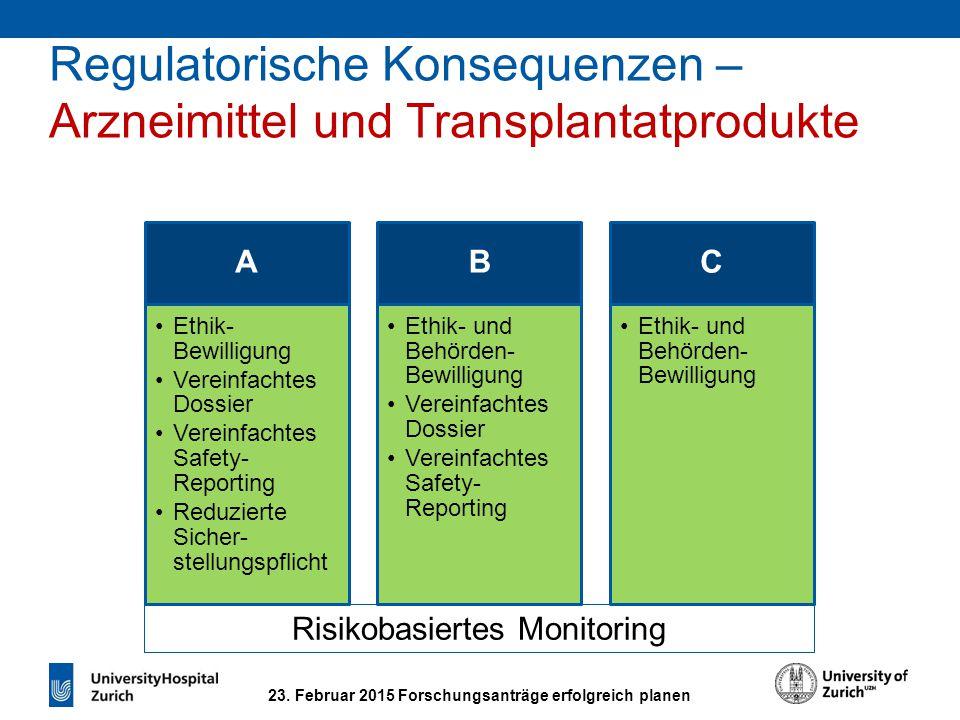 23. Februar 2015 Forschungsanträge erfolgreich planen Regulatorische Konsequenzen – Arzneimittel und Transplantatprodukte A Ethik- Bewilligung Vereinf