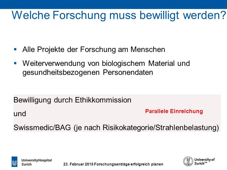 23. Februar 2015 Forschungsanträge erfolgreich planen Welche Forschung muss bewilligt werden?  Alle Projekte der Forschung am Menschen  Weiterverwen