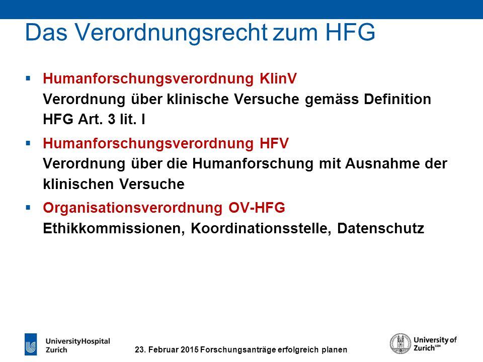 23. Februar 2015 Forschungsanträge erfolgreich planen Das Verordnungsrecht zum HFG  Humanforschungsverordnung KlinV Verordnung über klinische Versuch