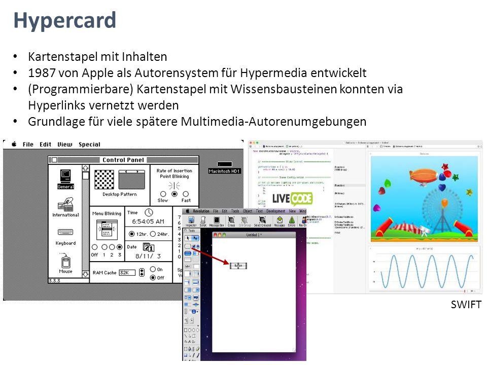 Hypercard Kartenstapel mit Inhalten 1987 von Apple als Autorensystem für Hypermedia entwickelt (Programmierbare) Kartenstapel mit Wissensbausteinen ko