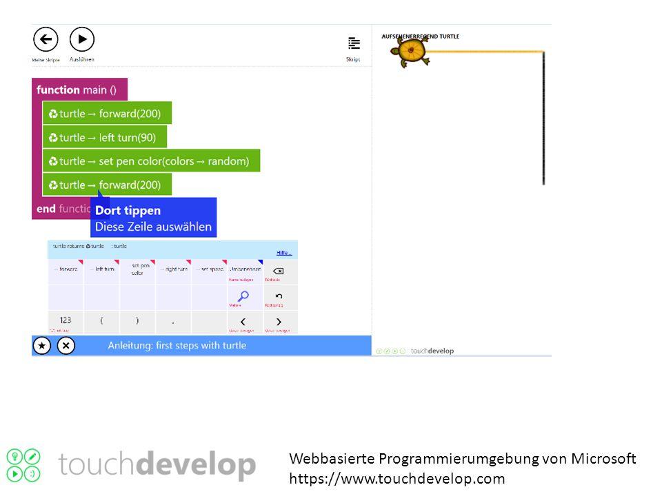 Webbasierte Programmierumgebung von Microsoft https://www.touchdevelop.com