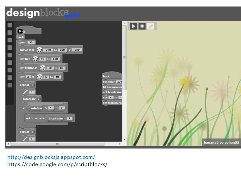http://designblocksjs.appspot.com/ https://code.google.com/p/scriptblocks/