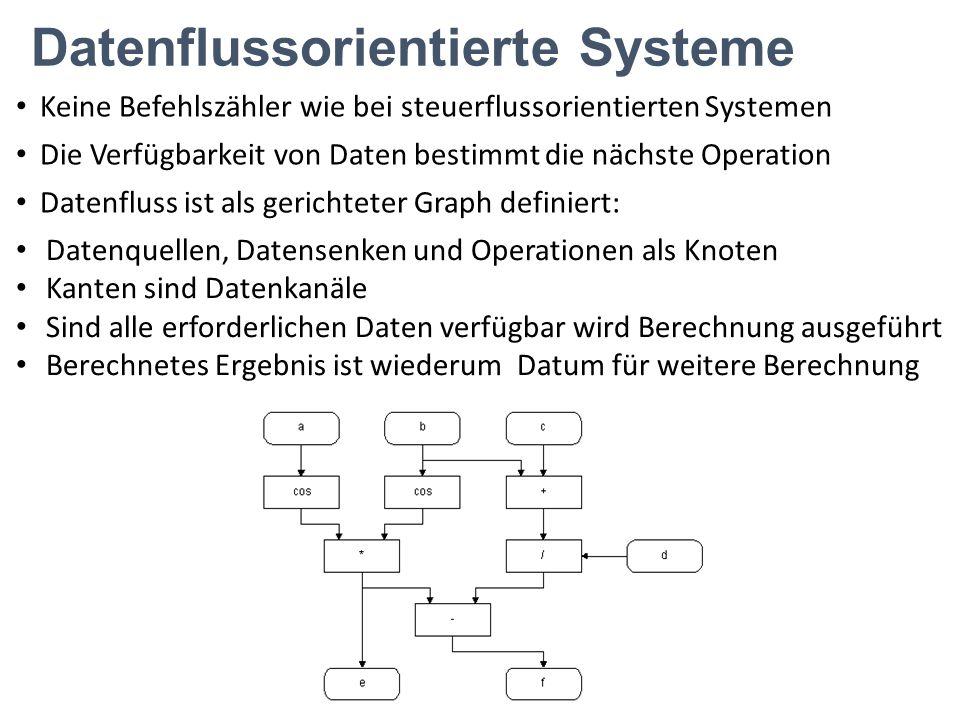 Datenflussorientierte Systeme Keine Befehlszähler wie bei steuerflussorientierten Systemen Die Verfügbarkeit von Daten bestimmt die nächste Operation