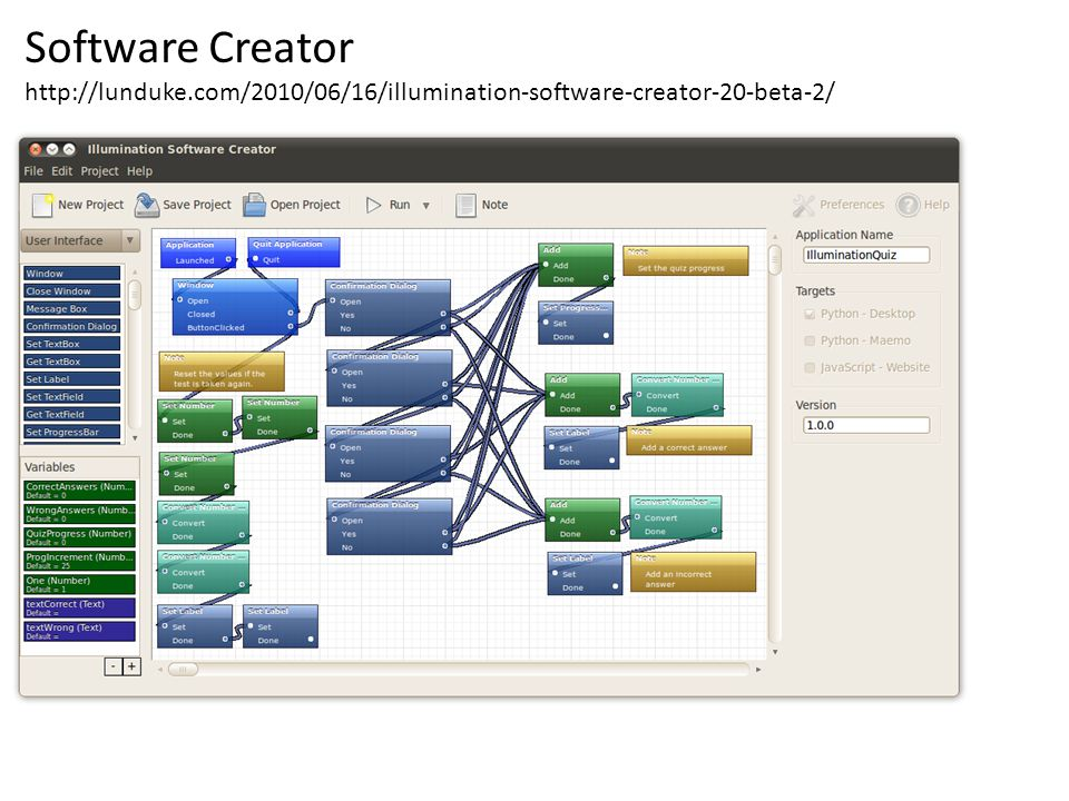 Software Creator http://lunduke.com/2010/06/16/illumination-software-creator-20-beta-2/