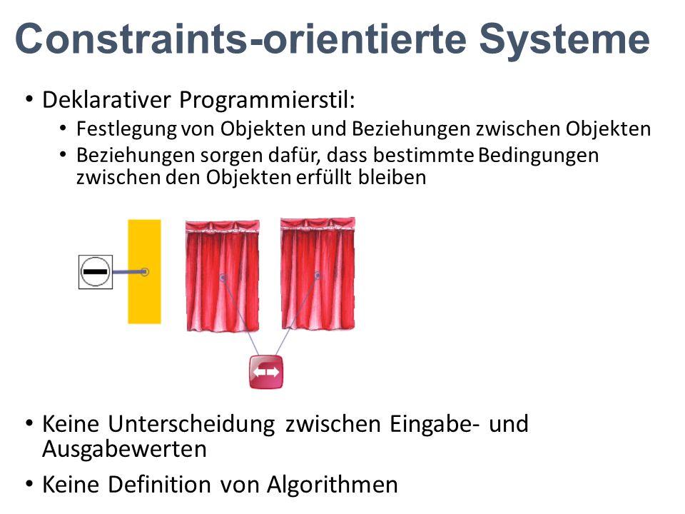 Constraints-orientierte Systeme Deklarativer Programmierstil: Festlegung von Objekten und Beziehungen zwischen Objekten Beziehungen sorgen dafür, dass