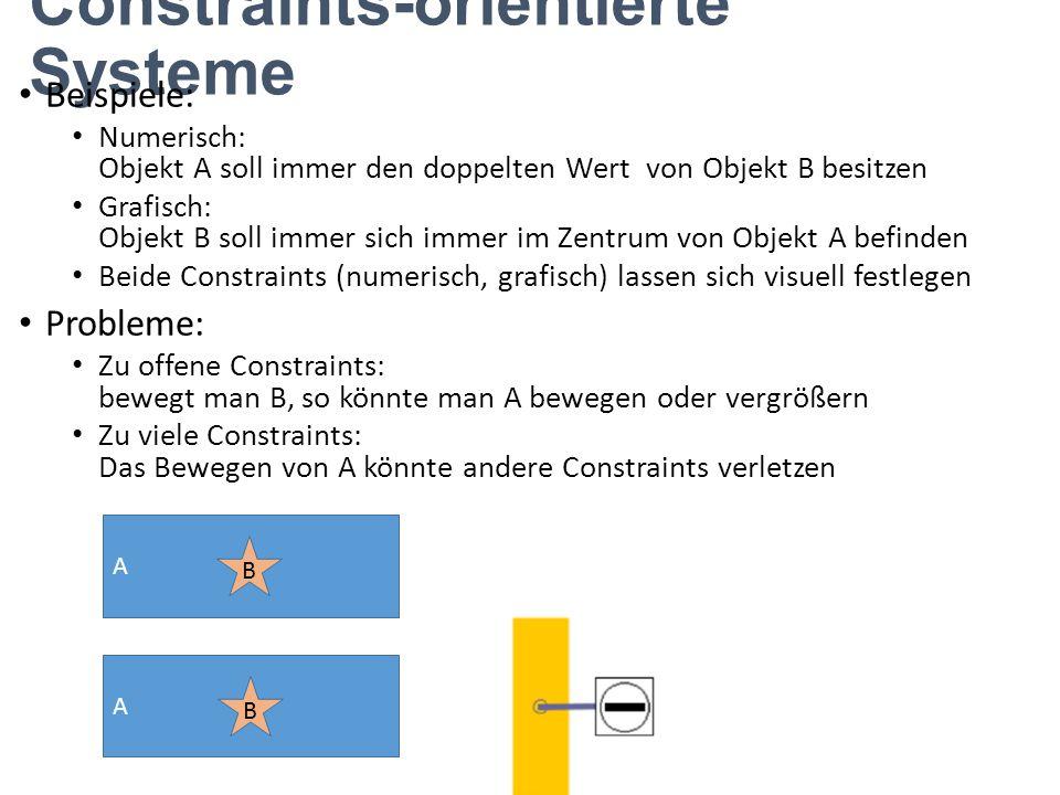 Constraints-orientierte Systeme Beispiele: Numerisch: Objekt A soll immer den doppelten Wert von Objekt B besitzen Grafisch: Objekt B soll immer sich