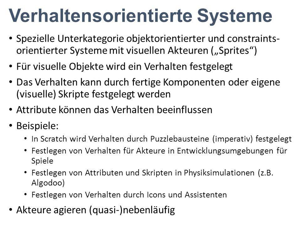 """Verhaltensorientierte Systeme Spezielle Unterkategorie objektorientierter und constraints- orientierter Systeme mit visuellen Akteuren (""""Sprites"""") Für"""