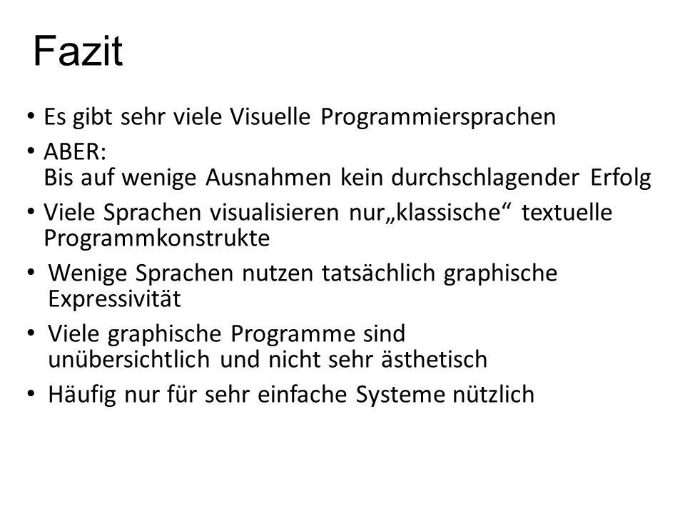 """Fazit Es gibt sehr viele Visuelle Programmiersprachen ABER: Bis auf wenige Ausnahmen kein durchschlagender Erfolg Viele Sprachen visualisieren nur""""kla"""