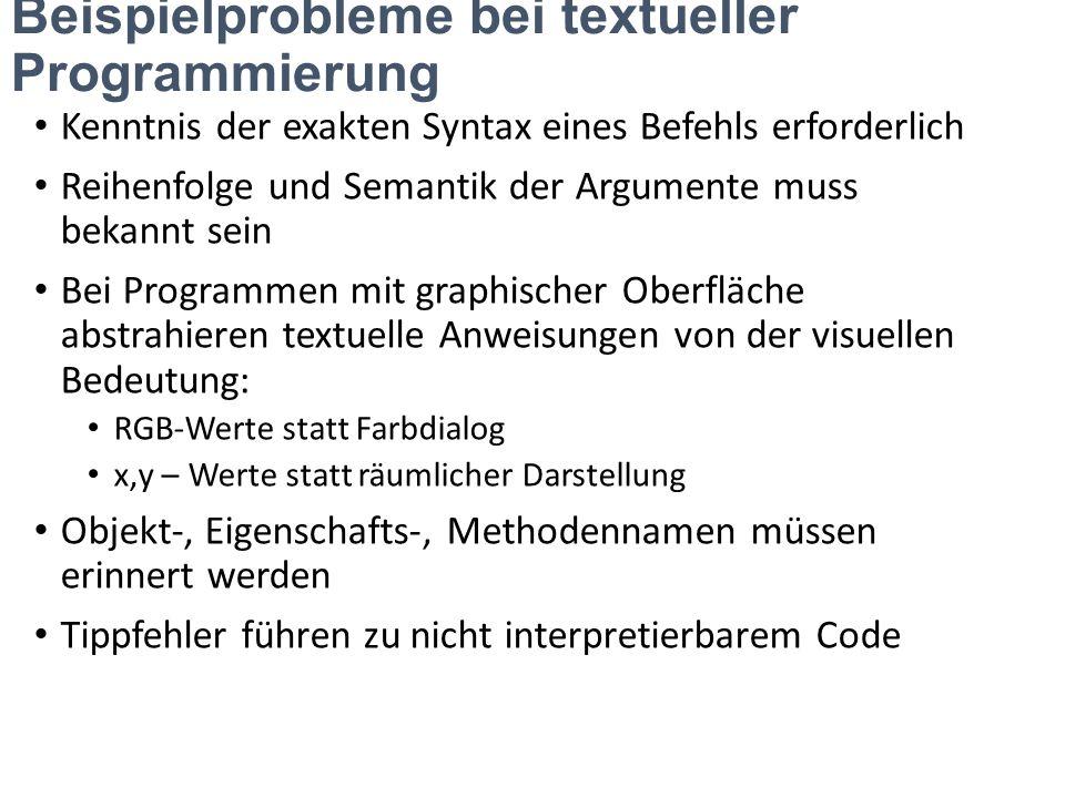 Beispielprobleme bei textueller Programmierung Kenntnis der exakten Syntax eines Befehls erforderlich Reihenfolge und Semantik der Argumente muss beka