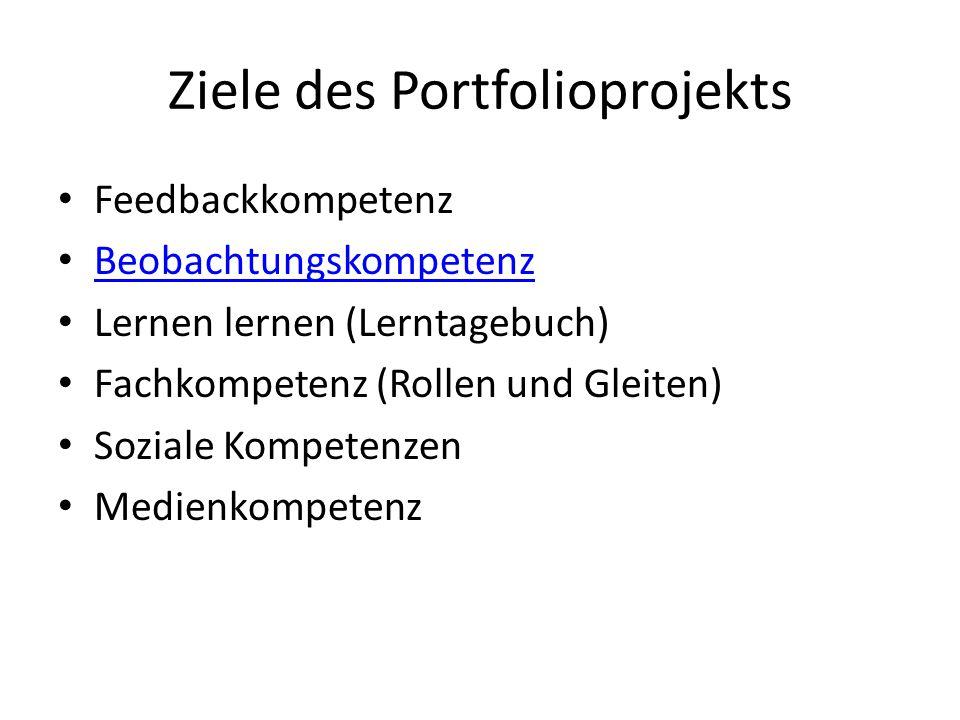 Ziele des Portfolioprojekts Feedbackkompetenz Beobachtungskompetenz Lernen lernen (Lerntagebuch) Fachkompetenz (Rollen und Gleiten) Soziale Kompetenze
