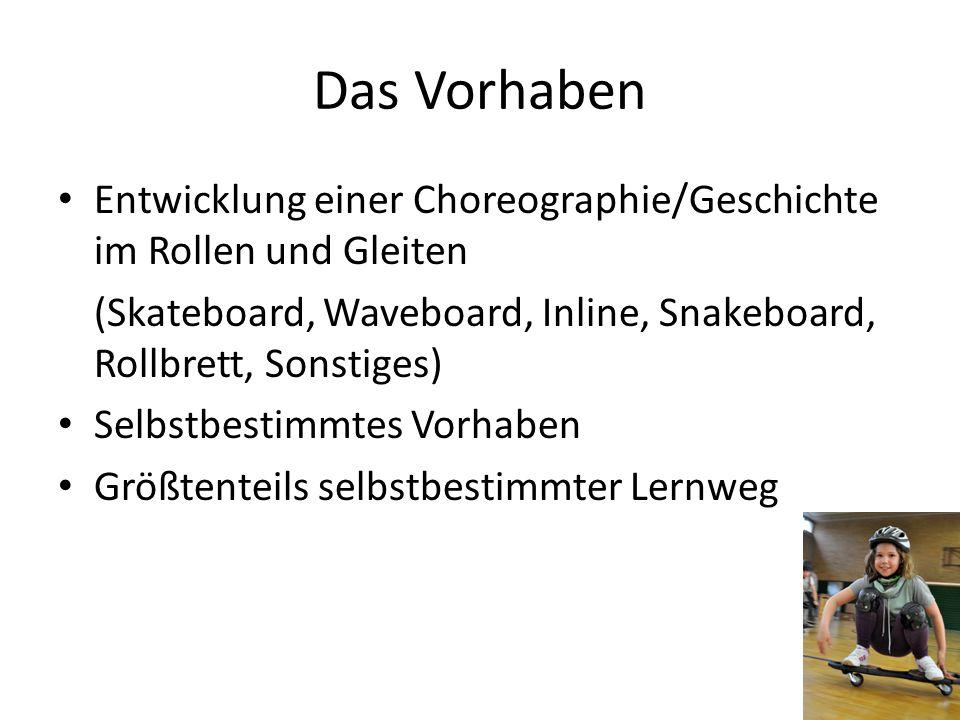 Das Vorhaben Entwicklung einer Choreographie/Geschichte im Rollen und Gleiten (Skateboard, Waveboard, Inline, Snakeboard, Rollbrett, Sonstiges) Selbst