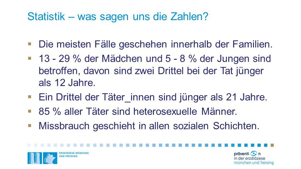Statistik – was sagen uns die Zahlen?  Die meisten Fälle geschehen innerhalb der Familien.  13 - 29 % der Mädchen und 5 - 8 % der Jungen sind betrof