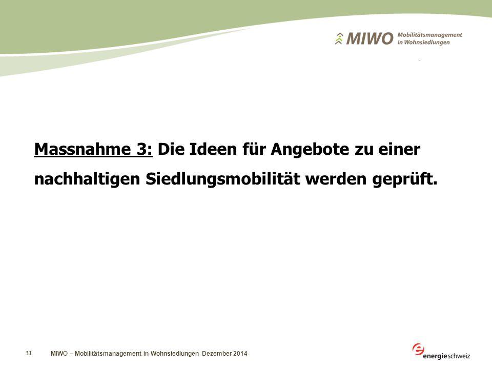 MIWO – Mobilitätsmanagement in Wohnsiedlungen Dezember 2014 31 Massnahme 3: Die Ideen für Angebote zu einer nachhaltigen Siedlungsmobilität werden geprüft.