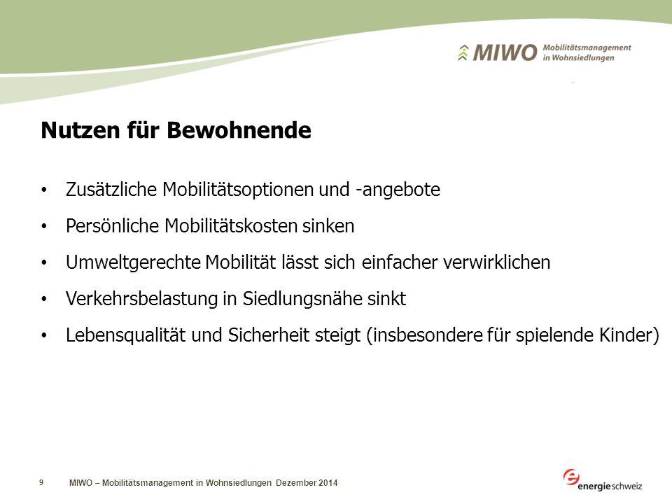 9 Nutzen für Bewohnende Zusätzliche Mobilitätsoptionen und -angebote Persönliche Mobilitätskosten sinken Umweltgerechte Mobilität lässt sich einfacher verwirklichen Verkehrsbelastung in Siedlungsnähe sinkt Lebensqualität und Sicherheit steigt (insbesondere für spielende Kinder)