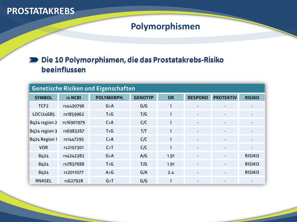 PROSTATAKREBS Polymorphismen Die 10 Polymorphismen, die das Prostatakrebs-Risiko beeinflussen