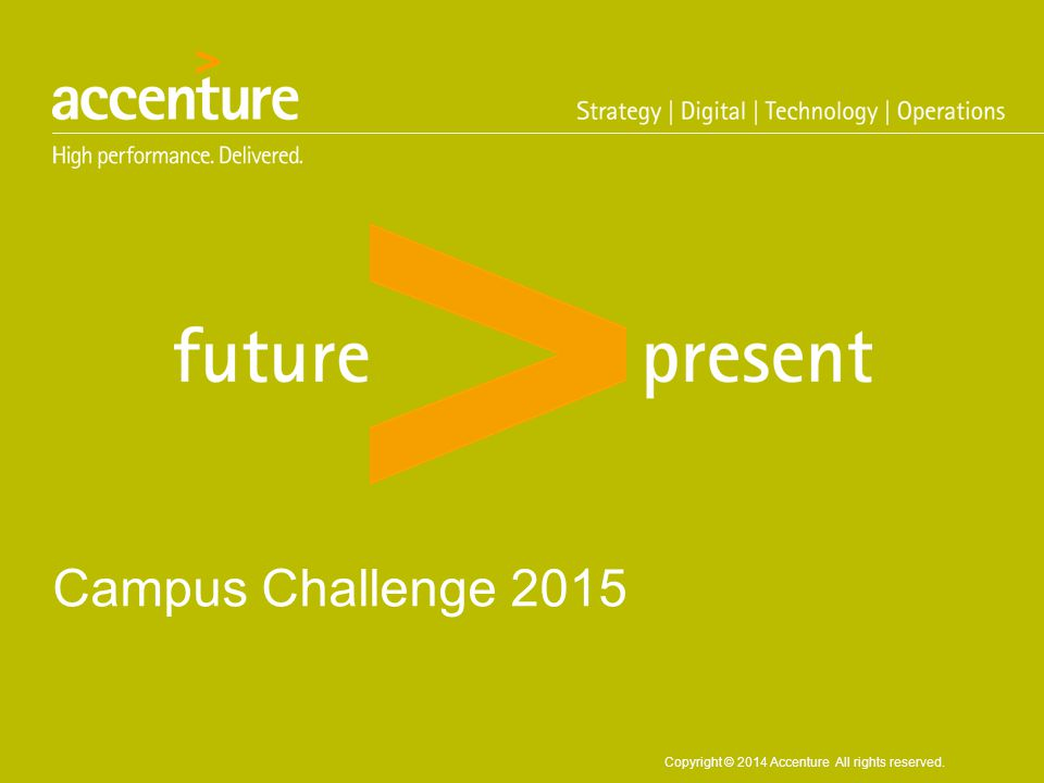 Copyright © 2014 Accenture All rights reserved. Campus Challenge 2015