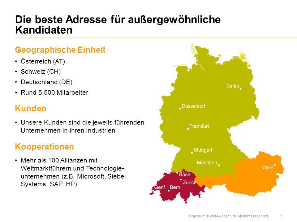 Copyright © 2014 Accenture All rights reserved. Geographische Einheit Österreich (AT) Schweiz (CH) Deutschland (DE) Rund 5.500 Mitarbeiter Kunden Unse