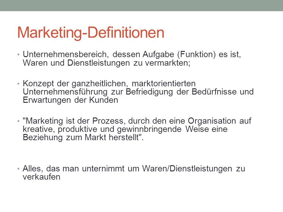 Marketing-Definitionen Unternehmensbereich, dessen Aufgabe (Funktion) es ist, Waren und Dienstleistungen zu vermarkten; Konzept der ganzheitlichen, ma