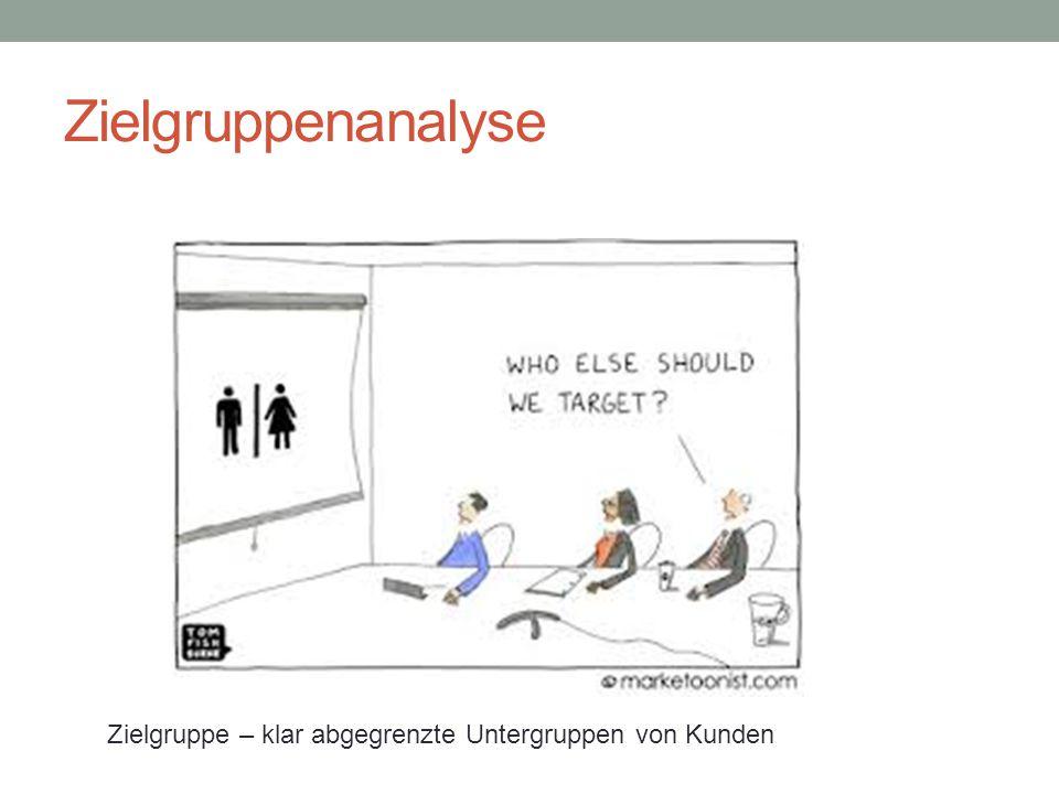 Zielgruppenanalyse Zielgruppe – klar abgegrenzte Untergruppen von Kunden
