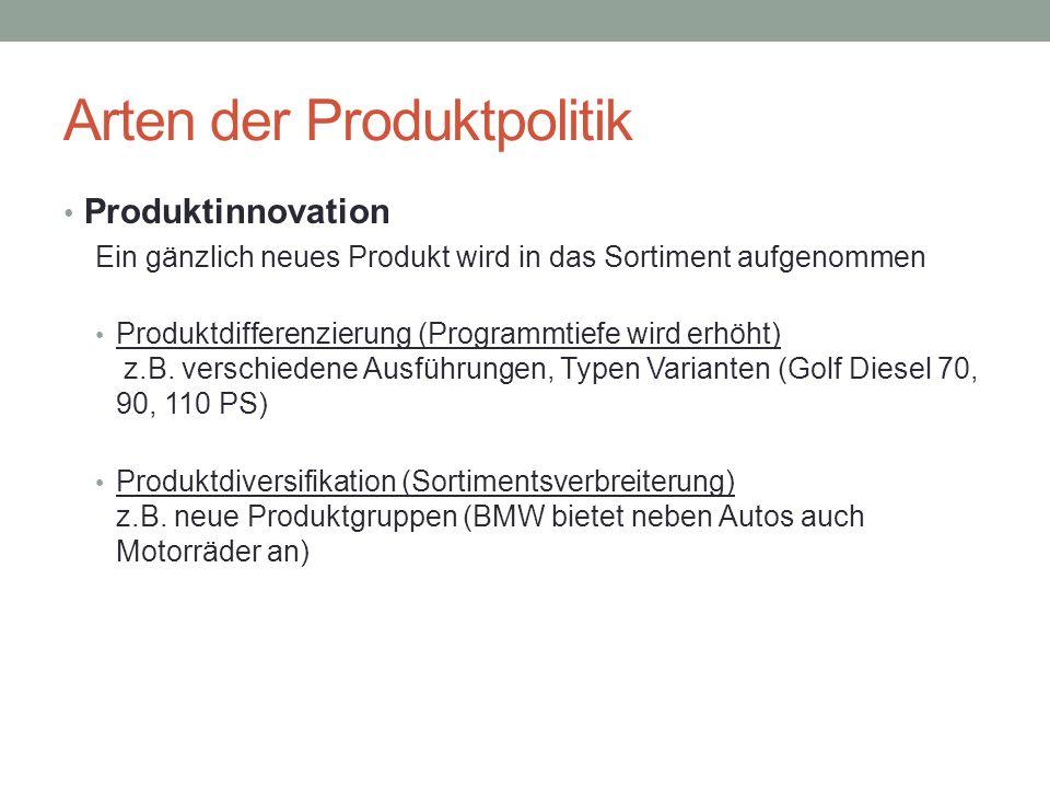Arten der Produktpolitik Produktinnovation Ein gänzlich neues Produkt wird in das Sortiment aufgenommen Produktdifferenzierung (Programmtiefe wird erh