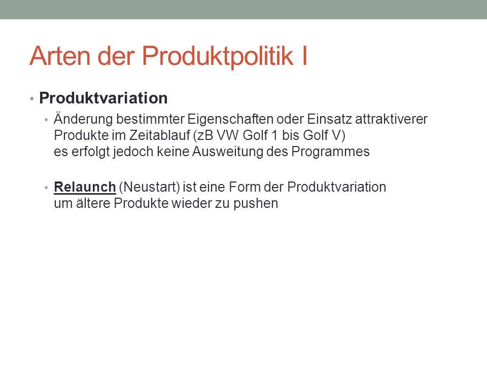 Arten der Produktpolitik I Produktvariation Änderung bestimmter Eigenschaften oder Einsatz attraktiverer Produkte im Zeitablauf (zB VW Golf 1 bis Golf