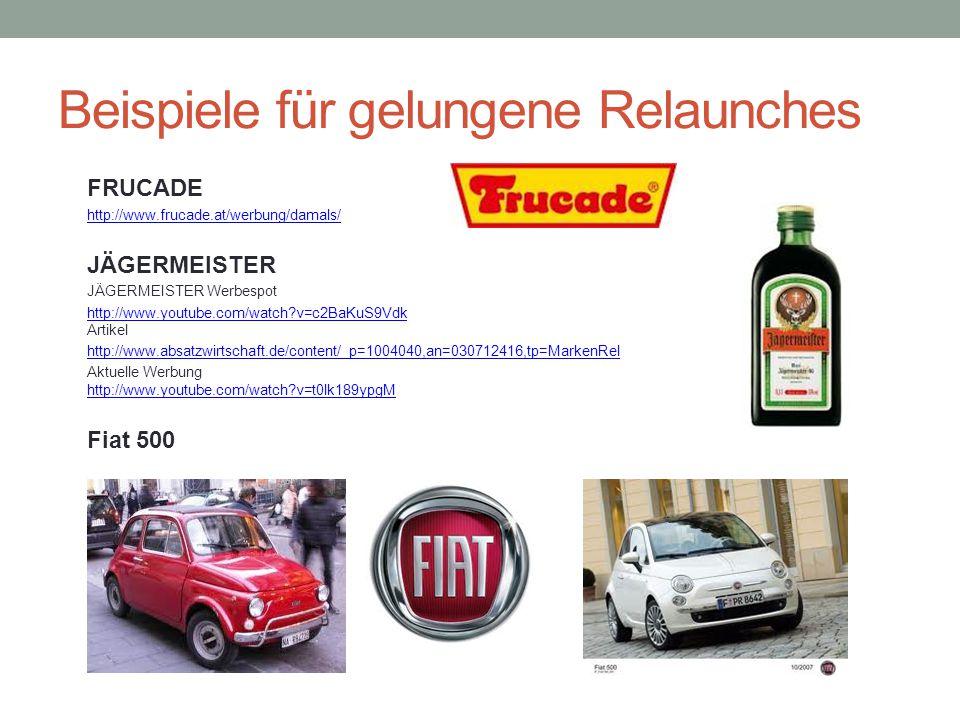 Beispiele für gelungene Relaunches FRUCADE http://www.frucade.at/werbung/damals/ JÄGERMEISTER JÄGERMEISTER Werbespot http://www.youtube.com/watch?v=c2