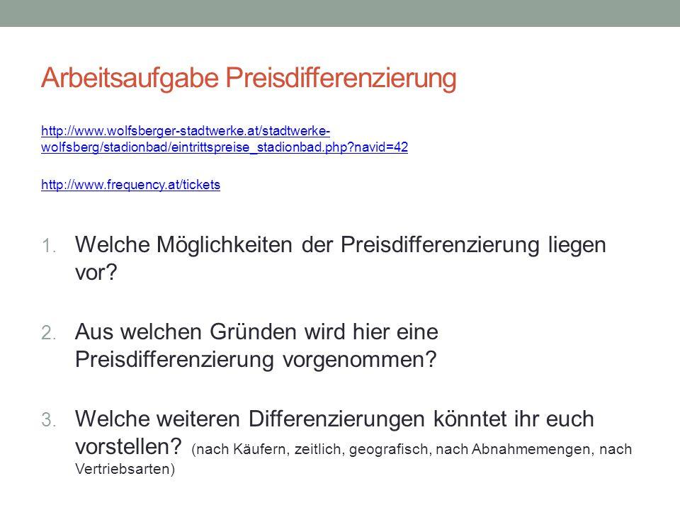 Arbeitsaufgabe Preisdifferenzierung http://www.wolfsberger-stadtwerke.at/stadtwerke- wolfsberg/stadionbad/eintrittspreise_stadionbad.php?navid=42 http
