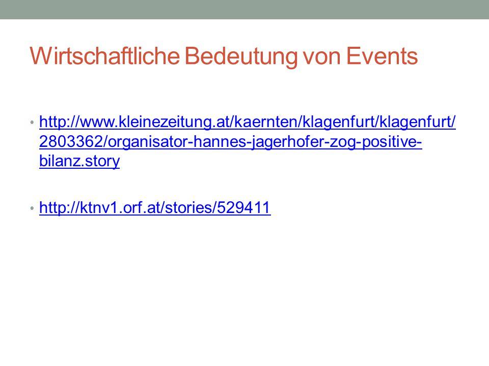 Wirtschaftliche Bedeutung von Events http://www.kleinezeitung.at/kaernten/klagenfurt/klagenfurt/ 2803362/organisator-hannes-jagerhofer-zog-positive- b