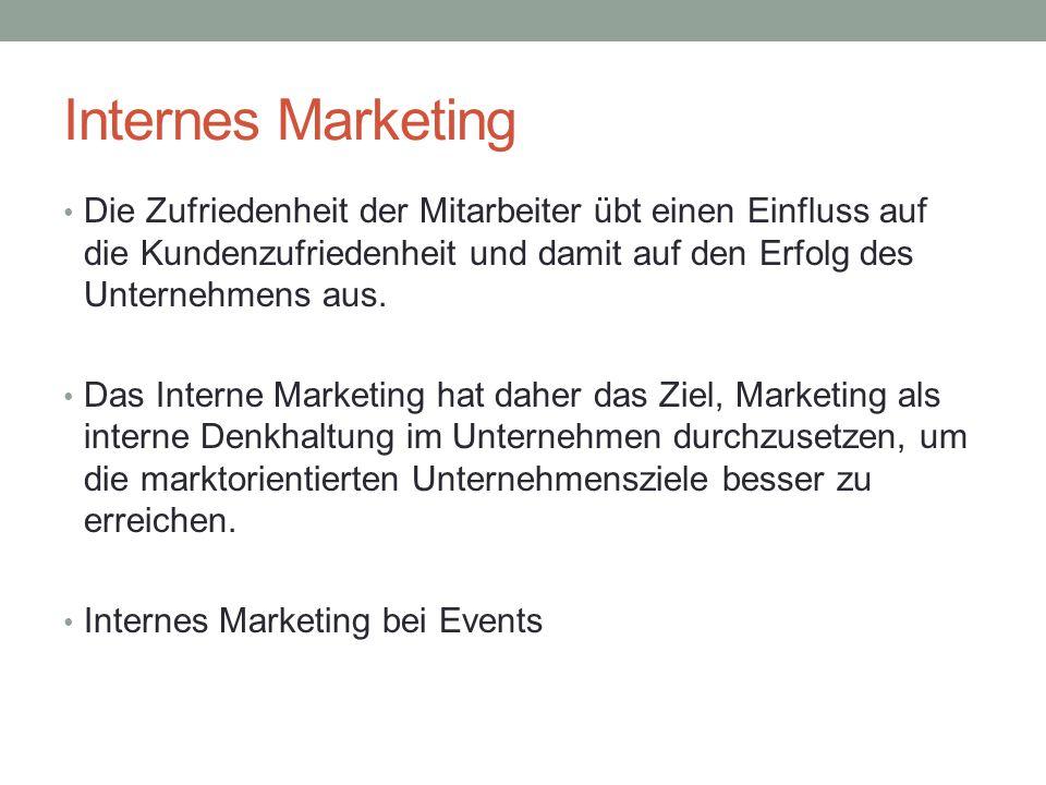 Internes Marketing Die Zufriedenheit der Mitarbeiter übt einen Einfluss auf die Kundenzufriedenheit und damit auf den Erfolg des Unternehmens aus. Das