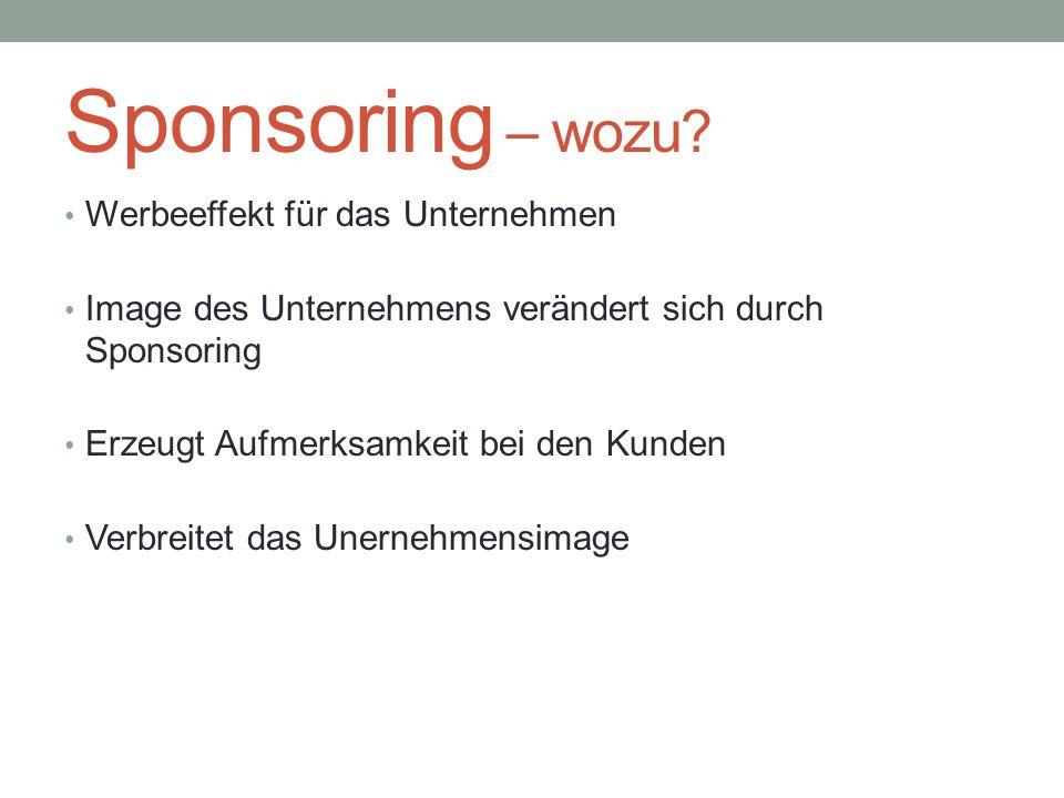 Sponsoring – wozu? Werbeeffekt für das Unternehmen Image des Unternehmens verändert sich durch Sponsoring Erzeugt Aufmerksamkeit bei den Kunden Verbre