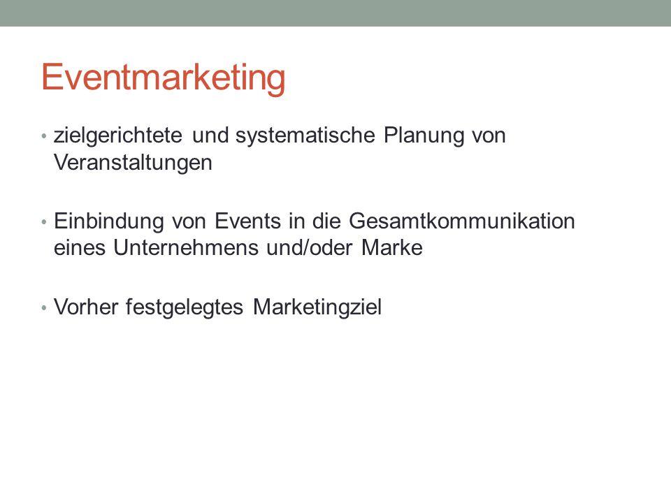 Eventmarketing zielgerichtete und systematische Planung von Veranstaltungen Einbindung von Events in die Gesamtkommunikation eines Unternehmens und/od