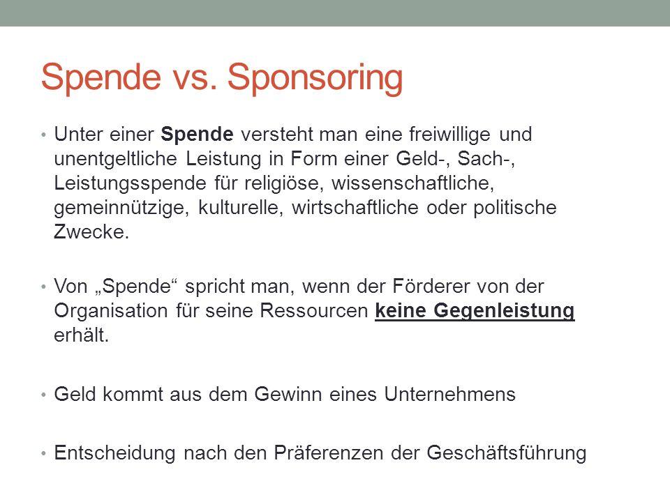 Spende vs. Sponsoring Unter einer Spende versteht man eine freiwillige und unentgeltliche Leistung in Form einer Geld-, Sach-, Leistungsspende für rel