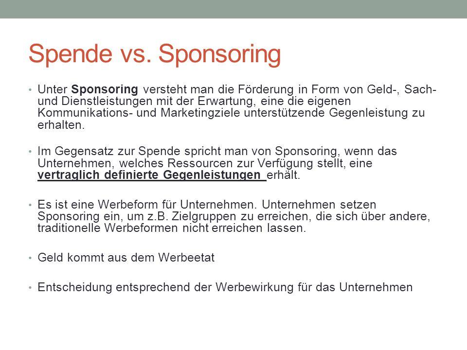 Spende vs. Sponsoring Unter Sponsoring versteht man die Förderung in Form von Geld-, Sach- und Dienstleistungen mit der Erwartung, eine die eigenen Ko