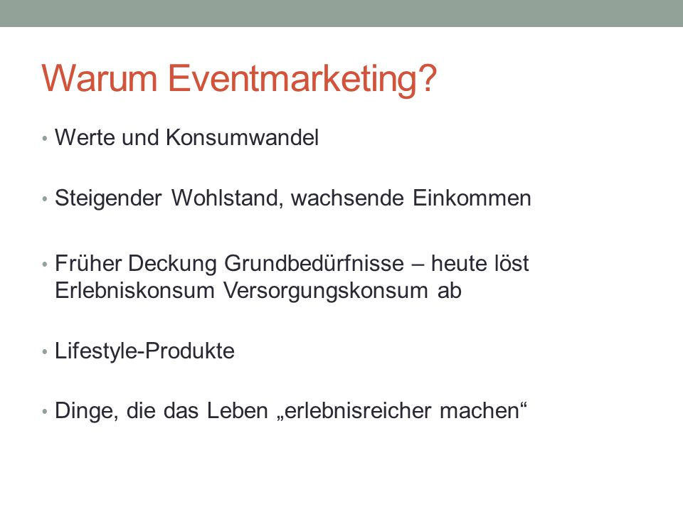 Warum Eventmarketing.