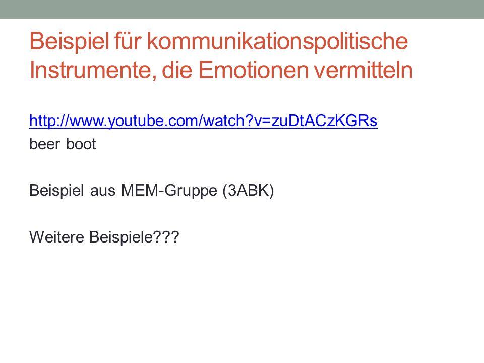 Beispiel für kommunikationspolitische Instrumente, die Emotionen vermitteln http://www.youtube.com/watch?v=zuDtACzKGRs beer boot Beispiel aus MEM-Grup