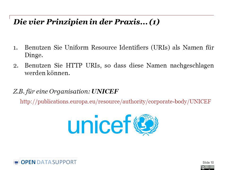Die vier Prinzipien in der Praxis... (1) Slide 10 1.Benutzen Sie Uniform Resource Identifiers (URIs) als Namen für Dinge. 2.Benutzen Sie HTTP URIs, so