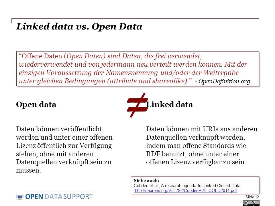 Linked data vs. Open Data Open data Daten können veröffentlicht werden und unter einer offenen Lizenz öffentlich zur Verfügung stehen, ohne mit andere